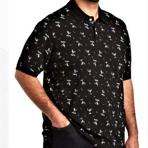 Men's Black Martini Collar Polo Shirt BIG & TALL